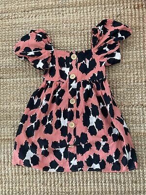 £3 • Buy Next Pink Leopard Animal Print Pink Coral Dress Age 3 Puff Sleeves
