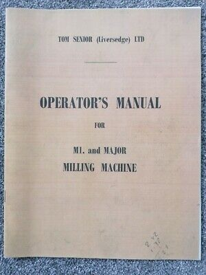 £14 • Buy Tom Senior Milling Machine Manual Early Version With Amendments