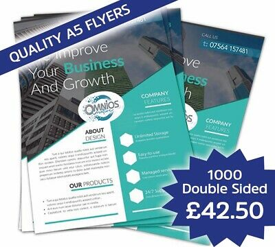 £42.50 • Buy 1000 Full Colour Double Sided Quality Printed A5 Flyers 150g Silk