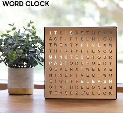 £22.79 • Buy Unique Light-up LED Electronic Word Clock Copper Finish Wall Or Desk