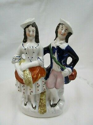 £8 • Buy Antique Staffordshire Flatback Man And Woman With Sheaf