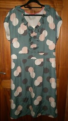 £40 • Buy New - Boden - Silk Mix Dress - Green With Circle Print - Size 16l