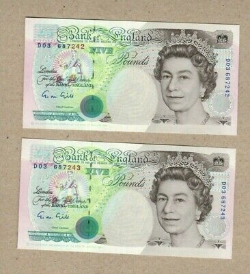 £17 • Buy Gill £5 Banknotes Prefix DO3 Pair Of Consecutive Numbers Uncirculated