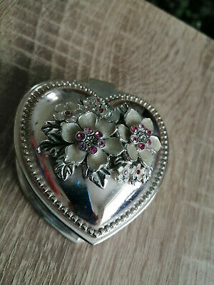 £0.99 • Buy Vintage Heart Shaped Silver Plate Trinket Box Withpearl Effect & Pink Stones