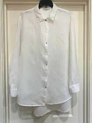 £21.91 • Buy CUT LOOSE Blouse - White Linen Long Sleeve MOP Buttoned, Large