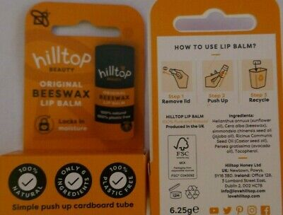 £4.99 • Buy HILLTOP Beeswax LIP BALM Plastic Free 100% Natural Locks In Moisture X 2 TWO
