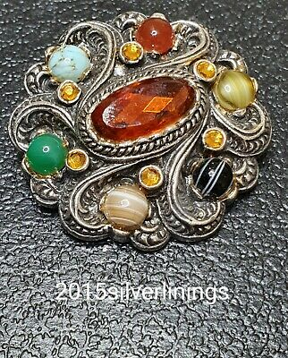£12 • Buy Vintage Signed Miracle Scottish Faux Agate Brooch