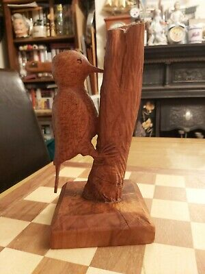 £24.99 • Buy Vintage Hand Carved Wooden Woodpecker On Tree Trunk Lamp Base? 24cm