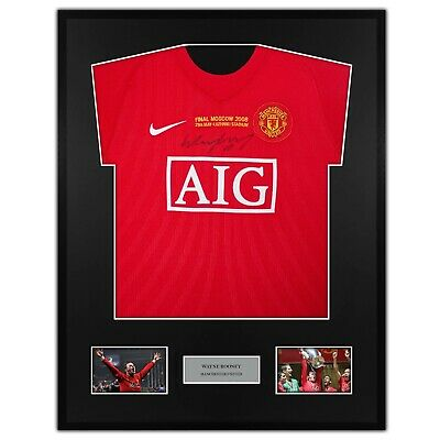 £220 • Buy Wayne Rooney Manchester United Signed Shirt Framed Final Moscow 2008 - COA Proof
