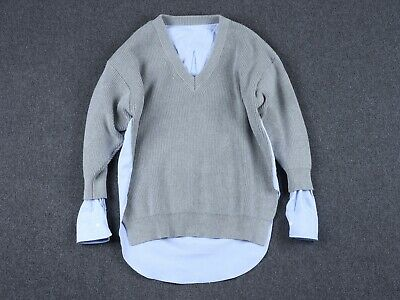 AU315 • Buy ALEXANDER WANG V-neck Pullover Grey Sweater With Oxford Shirting Size M