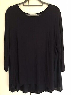 £4.99 • Buy M&s Per Una Navy Blue Pleated Back 3/4 Sleeve Tunic Shirt Top - Size 20