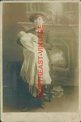 £4 • Buy Young Mother Holding Baby Standing Next To A Fireplace  Postcard Social History