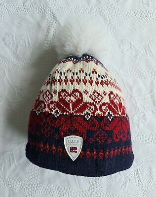 £28 • Buy Dale Of Norway Navy Mix Patterned Wool Hat With Fur Pom Pom Knit Beanie. Womens.