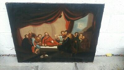 £0.99 • Buy Large Antique Oil Painting , Last Supper