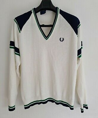 £32 • Buy FRED PERRY SPORTSWEAR Mens White Mix Striped V-Neck Jumper. Size Large/Chest-44
