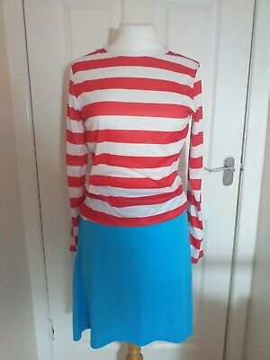 £10 • Buy Where's Wally Wenda Ladies Fancy Dress Costume,  Hat & Glasses Size Small