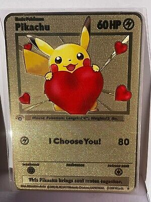 $13.99 • Buy Pikachu, I Choose You! Gold Metal Pokemon Card!  Shiny Unique Collectable!