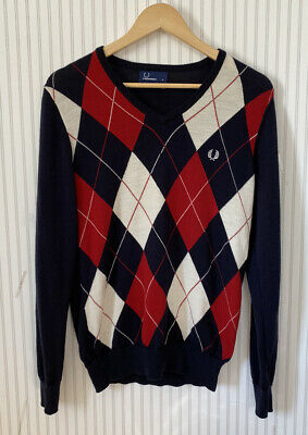£12.99 • Buy Fred Perry Navy Argyle V Neck 100% Merino Wool Jumper Size Small
