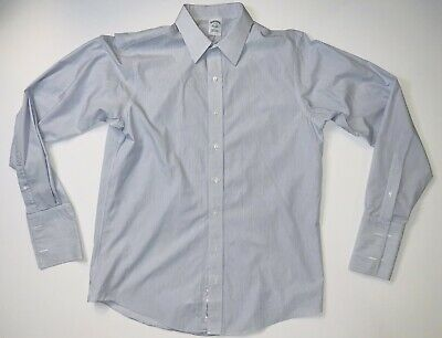 £9.50 • Buy Brooks Brothers Extra Slim Fit Men's French Cuff Gray Blue Striped Shirt 17-37