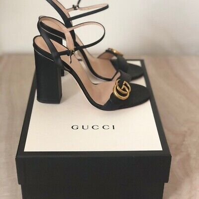 £57 • Buy Genuine Gucci Marmont Leather High Heel Sandals Size 5 Black