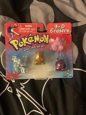 $20 • Buy Pokemon 3-D Erasers 4 Pack Brand New Toy Island 1998 Sealed!