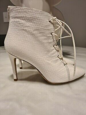 AU179 • Buy Scanlan & Theodore White Leather Snakeskin Boots Booties NEW 36 6