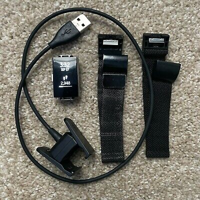 AU1.36 • Buy Fitbit Charge 2 FB407S Activity Tracker Black, Charging Cable, Extra Band