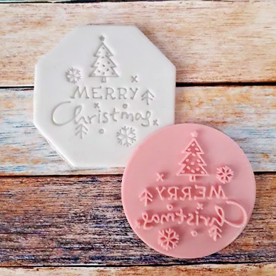 AU10.39 • Buy Merry Christmas Cookie Biscuit Fondant Baking Cake Embosser And Cutter Set.