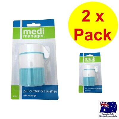 AU21.95 • Buy 2 X MEDI MANAGER PILL CUTTER AND CRUSHER PILL STORAGE - 3 IN 1 - TABLET SPLITTER