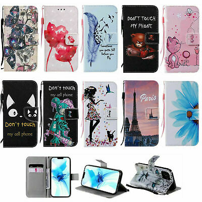 AU8.33 • Buy Leather Cat Wallet Card Holder Stand Phone Case For IPhone 11 12 Pro XR X 7 8 SE
