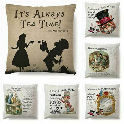 £5.99 • Buy Alice In Wonderland Cartoon Pillow Case Cotton Linen Square Cushion Covers Home