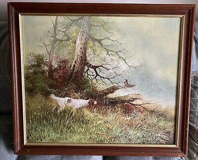 £75 • Buy ORIGINAL OIL ON CANVAS PAINTING SIGNED L. EIFORD. Hunting Dog Flushing Game