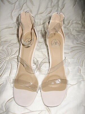 £15 • Buy Missguided Nude Barely There Shoes Heels Sz 6 Uk 39 Eu Bnib