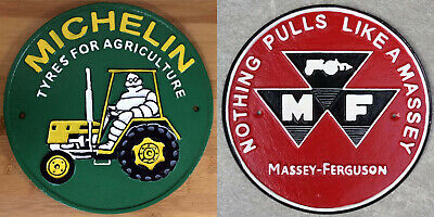 £28.99 • Buy Tractor Signs Massey Ferguson + Michelin Tyres Plaques Large Cast Iron *1 ONLY*