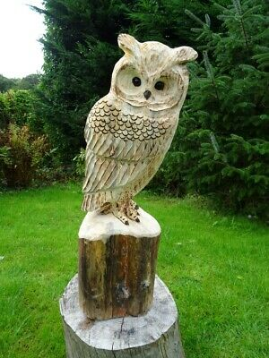 £75 • Buy Chainsaw Carving Owl Woodcarving  Barn Owl Garden Sculpture Individual Gift