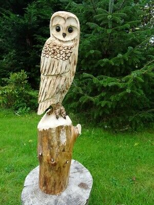 £60 • Buy Chainsaw Carving Owl Woodcarving  Barn Owl Garden Sculpture Individual Gift