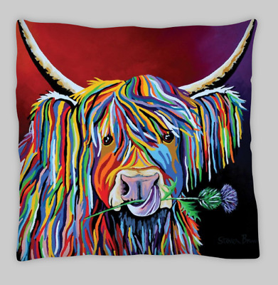 £7.99 • Buy Highland Cow (Scottish Version) Double Sided Cushion Covers 45x45cm (18x18)