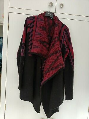 £9 • Buy Women's Size 14 Waterfall Thick Cardigan Used Black Red Burgundy Aztec