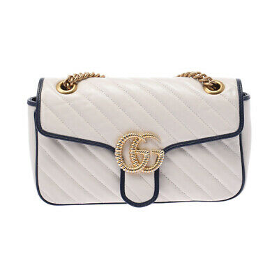 AU2145.60 • Buy GUCCI GG Marmont Small Shoulder White / Navy 443497 Bag 802500037937000