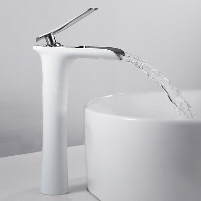 £42.59 • Buy Bathroom Basin Mixer Taps Waterfall Counter Top Tap Monobloc Brass Faucet White
