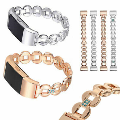 AU13.29 • Buy Women Stainless Steel Crystal Bracelet Band Loop Strap For Fitbit Charge 2 / 2HR