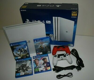 AU485 • Buy Sony Playstation 4 Pro 1TB Console - Glacier White (2 Controller + 4 Games)