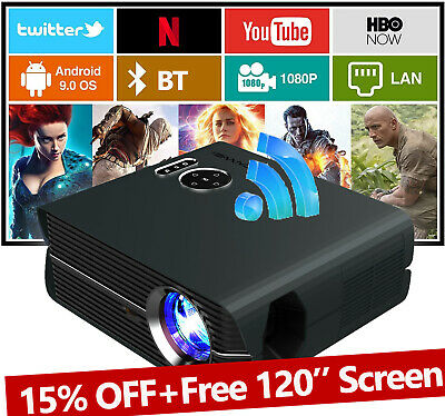 AU206.39 • Buy LED Android WiFi Projector HD Mini Home Cinema Movie HDMI 1080p Blue-tooth LCD