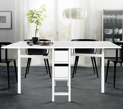 AU149 • Buy Dining Table Extendable Folding Kitchen Tables Drawers Storage White Restaurant