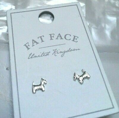 £6.95 • Buy Fat Face Scottie Dog Stud Earrings New With Tags BNWT Silver Jewellery Gift 🎁