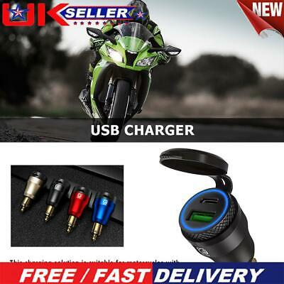 £12.89 • Buy DIN Plug To QC3.0 + PD USB Charger W/ LED Light For Motorcycle (Black+Blue) P⑤
