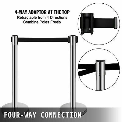 £20.69 • Buy 2PCS Retractable Crowd Queue Barrier Control Safety Barrier Posts Stainless