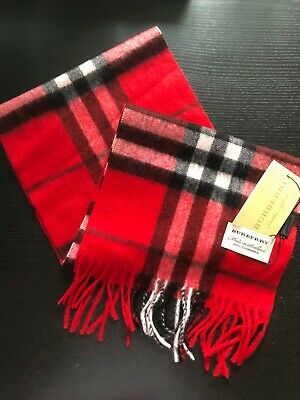 £90.95 • Buy Brand New Burberry 100 % Cashmere Scarf  FOR KIDS Bright Red Check
