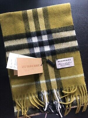 £90.95 • Buy Brand New Burberry 100 % Cashmere Scarf  FOR KIDS Olive Green  Check