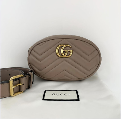 AU941.48 • Buy Gucci Quilted Lambskin Leather GG Marmont In Beige